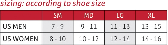 Neoprene Blend Ankle Support Size Chart