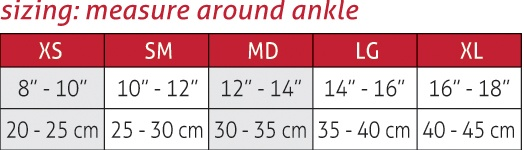 Hg80® Ankle Support Size Chart