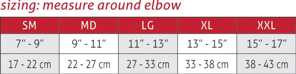 OMNIForce Elbow Support E700 Size Chart