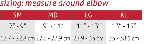Life Care Elbow Support Size Chart