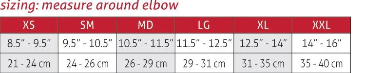 Shokk Elbow Pads size Chart