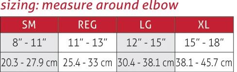 Diamond Padded Elbow Sleeve Size Chart