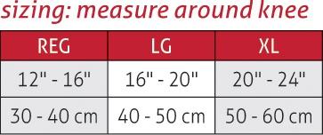 Hinged Wraparound Knee Brace Size Chart