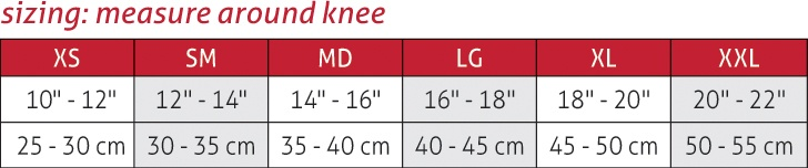 OMNIForce Knee Support K-700 Size Chart