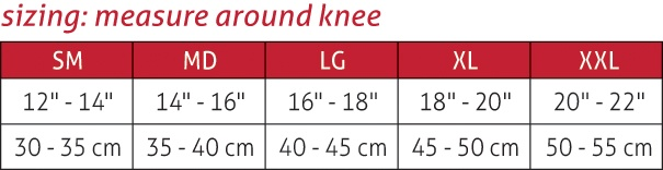OMNIForce Knee Stabilizer KS-700 Size Chart