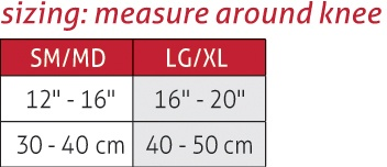 Elastic Knee Stabilizer Size Chart