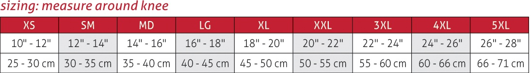 Closed Patella Knee Sleeve Size Chart
