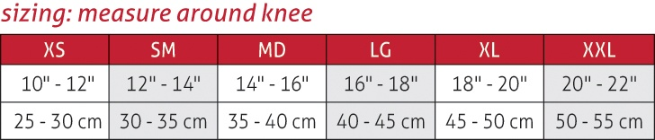Diamond Pad Volleyball Knee Pads Size Chart