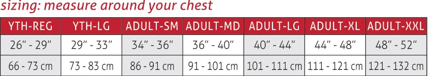 Diamond Pad Compression Shirt Size Chart