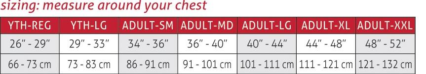 Diamond Pad Compression Shirt Size Chart
