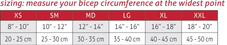 Graduated Compression Arm Sleeve Size Chart
