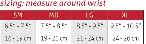 Life Care Wrist Support SIze Chart