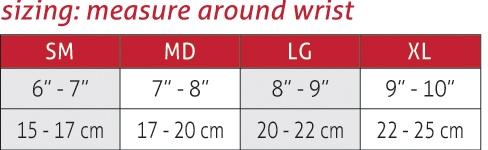 Wrist Sleeve Size Chart