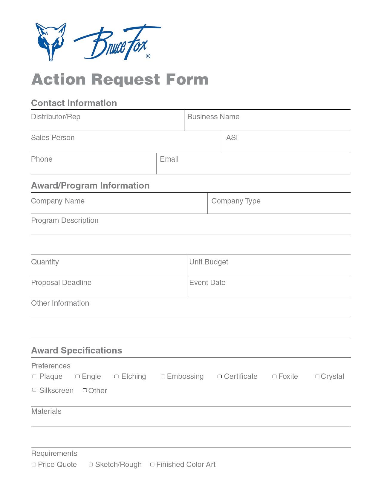 action request form bruce fox pdf online form