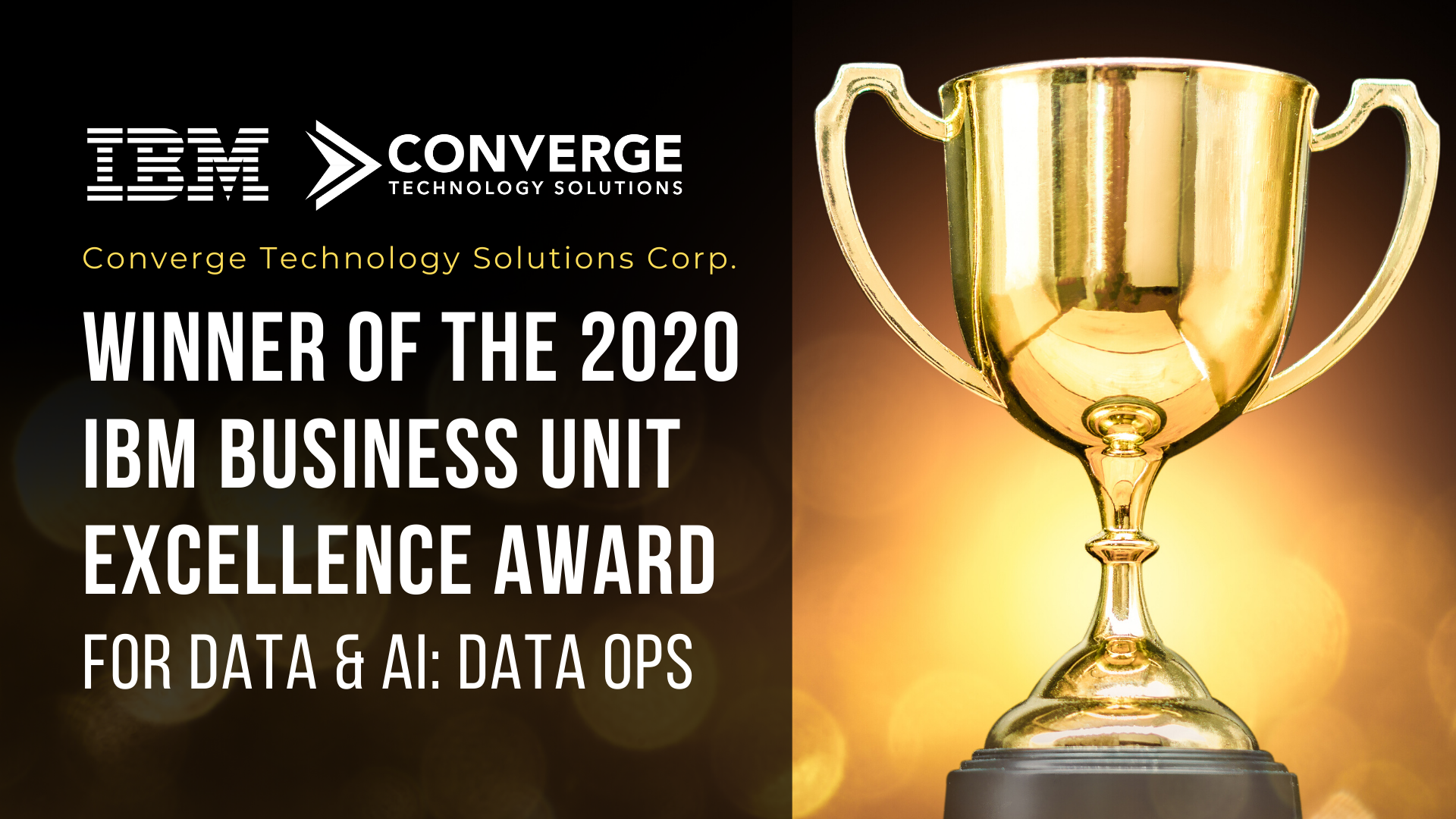 Converge Wins 2020 IBM Business Unit Excellence Award for Data & AI: DataOps