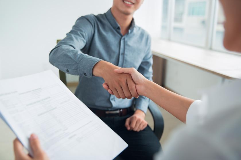 man having a successful job interview