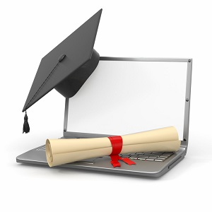 Laptop and diploma