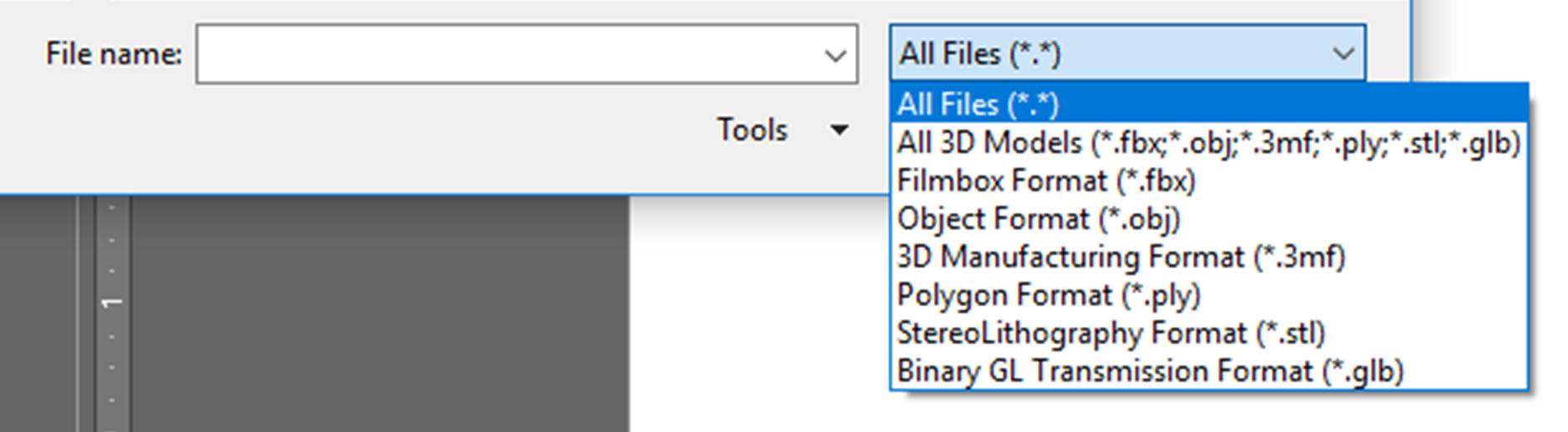 Type of 3D model file format