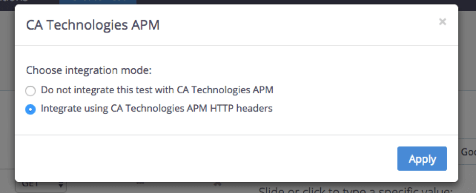 By choosing 'Integrate using CA Technologies APM HTTP Headers', the test metrics will be shown on the CA APM. If you choose 'Do not integrate this test with CA Technologies APM', the integration in progress will pause.