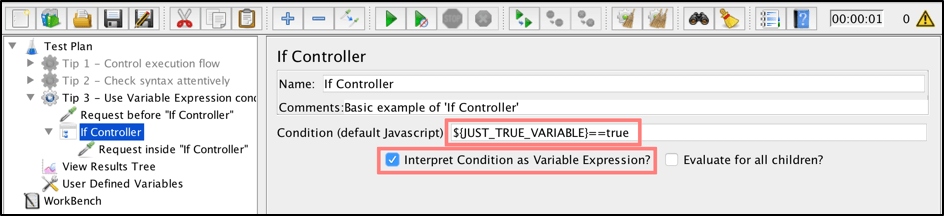 jmeter, how to use the if condition