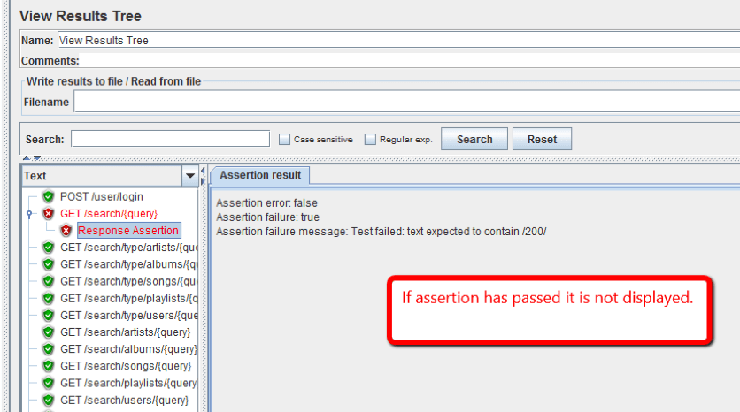 view results tree assertion result