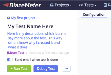 add description to your BlazeMeter tests