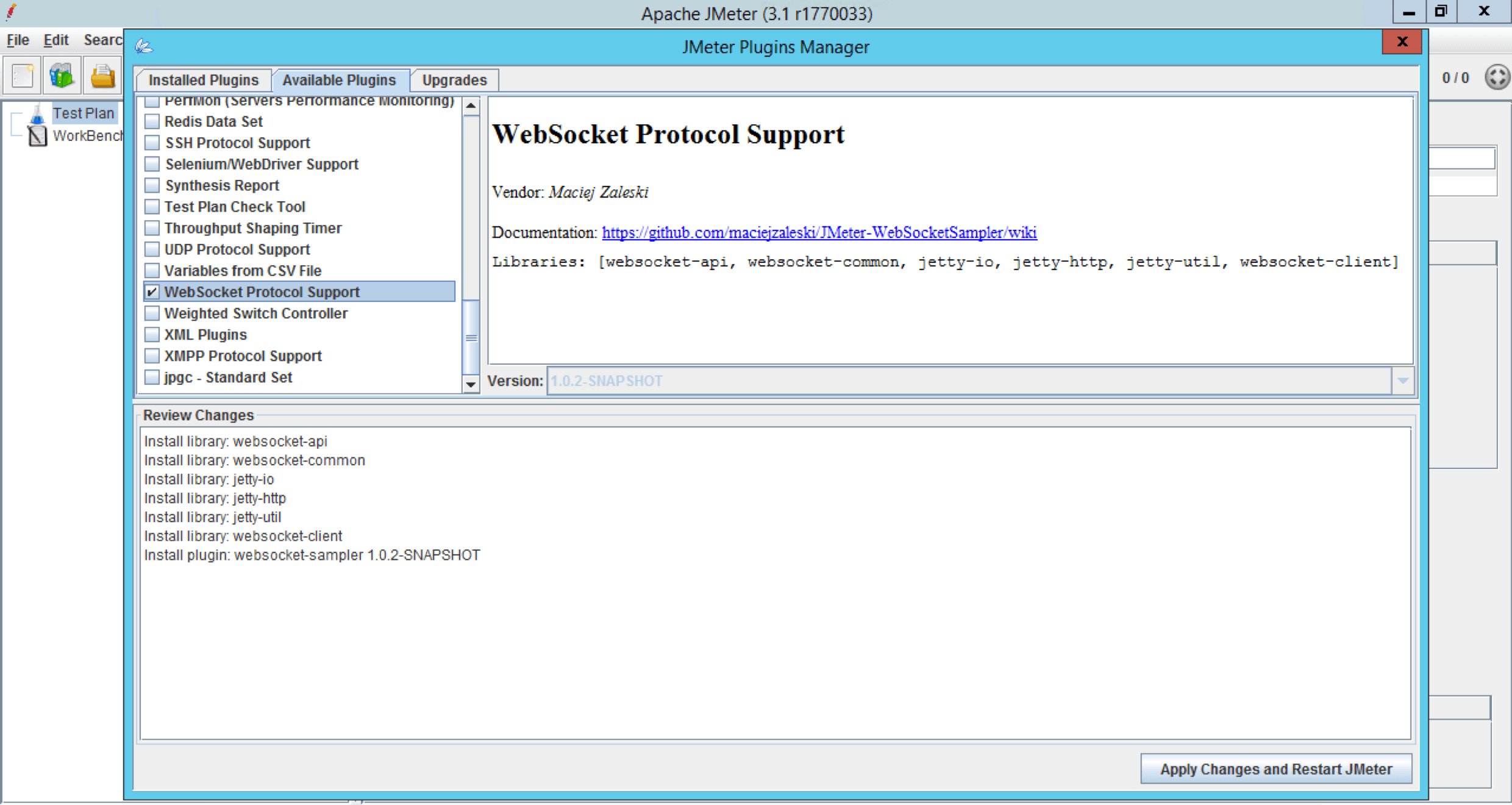 websocket plugins manager