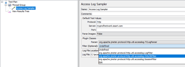 access log sampler, jmeter, filter class