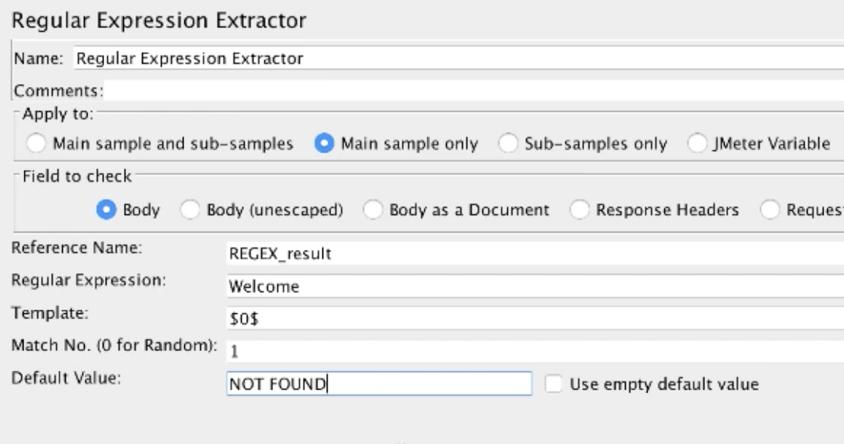 jmeter regular expression extractor