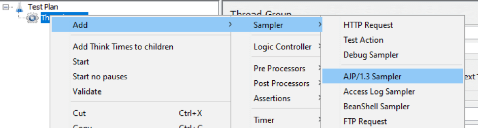 how to use the jmeter ajp sampler