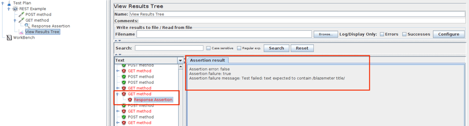 assertion failure message API testing