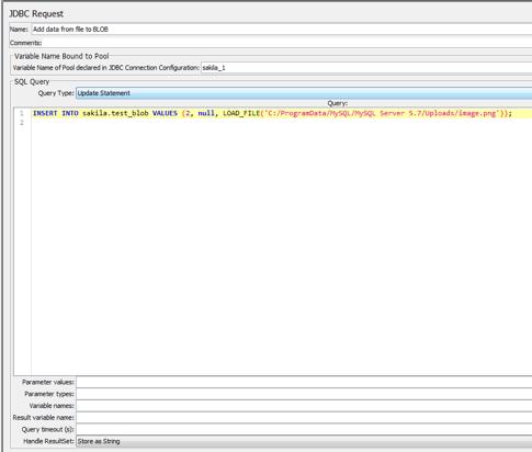 database testing code, jmeter