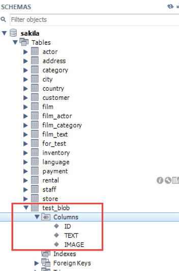 configuring tables with BLOB with JMeter