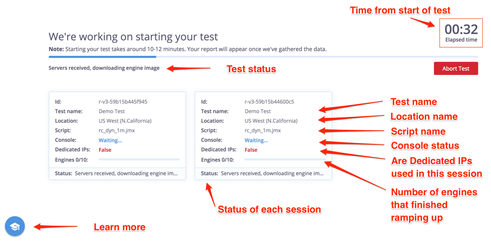 The BlazeMeter Test Booting Screen is now updated with more information for improving your testing experience