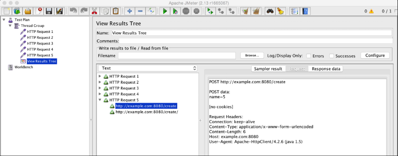 JMeter HTTP Request Sampler Loop 5 Entities Copy and Paste