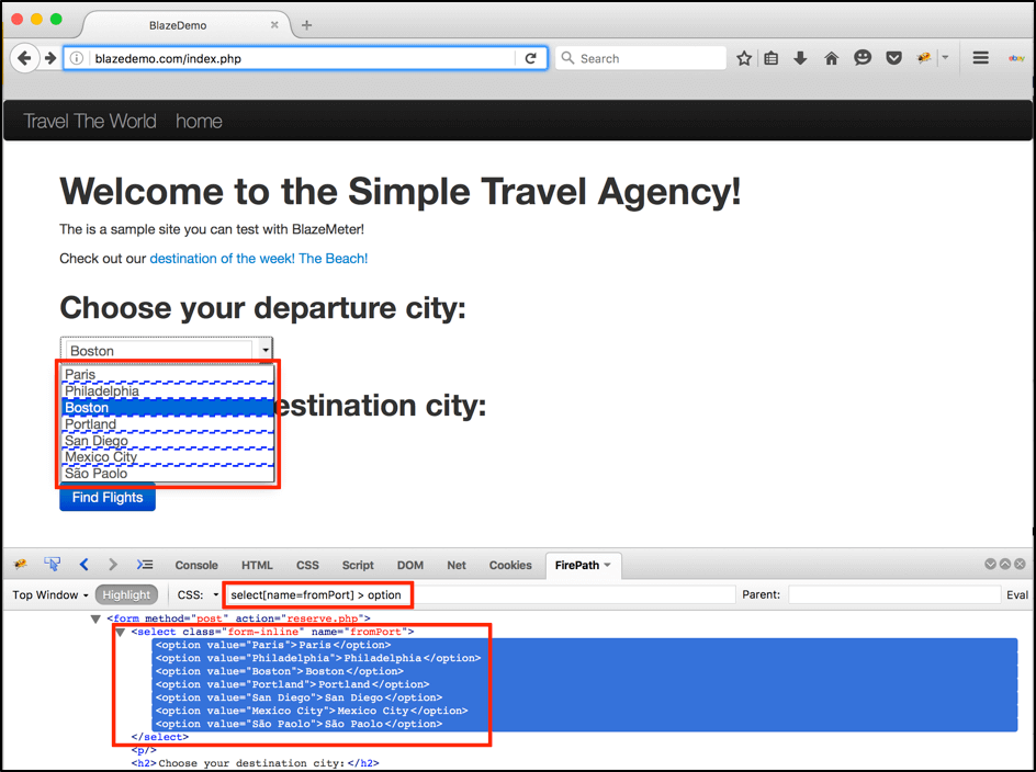 For departure cities extraction we can use the CSS locator: select[ data-cke-saved-name=fromPort] name=fromPort] > option