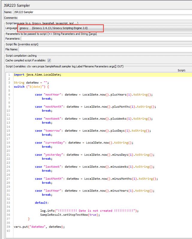 dates in jmeter open source test