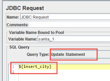 working with database variables with jmeter
