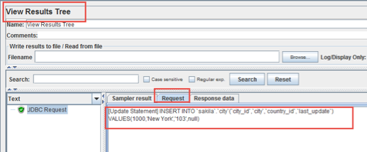 viewing mysql database requests in jmeter