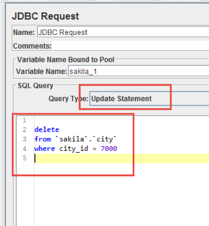 removing database data with jmeter