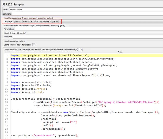 code for jmeter testing spreadsheet
