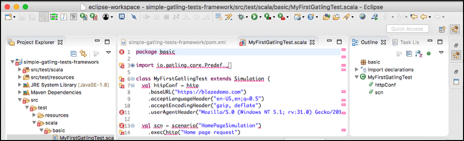 eclipse IDE for gatling performance testing