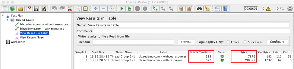 jmeter, retrieve embedded resources view results table listener