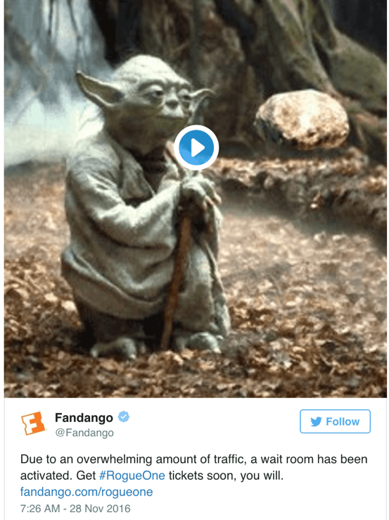 fandango website crash, star wars, rogue one