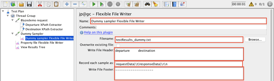 jmeter, flexible file writer plugin guide