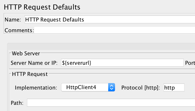 jmeter http request defaults serverurl