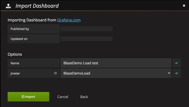 jmeter test results influx db and grafana