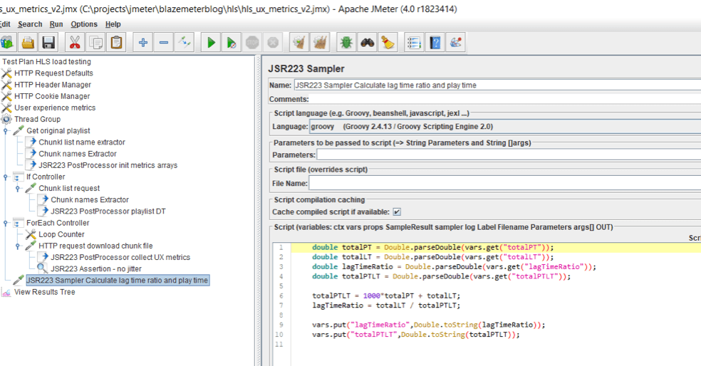 jmeter, hls testing, groovy, ux metrics