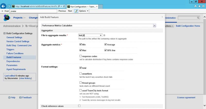 Configuring the JMeter TeamCity Plugin Build Feature