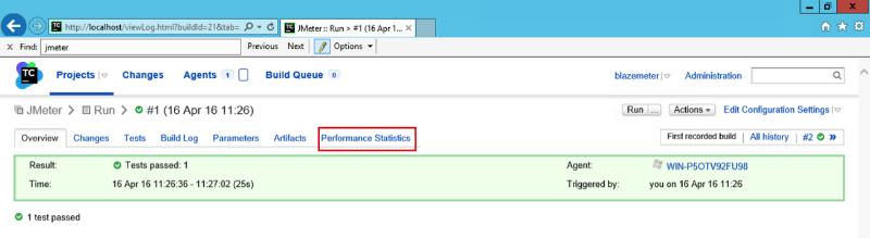 Performance Statistics JMeter TeamCity